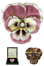 Antique C1900s American 14K 585 Yellow Gold Diamond Enamel Flower Petals Brooch
