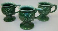 3 McCoy Pottery Tiara Green Drip Glaze Eagle Pedestal Mugs