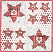 2 Serviettes en papier Étoile Écossais décor Noël Paper Napkins Scottish star