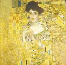 3 x Single Paper Napkins Decoupage Painting Lady Adele Bloch Bouer Klimt M580