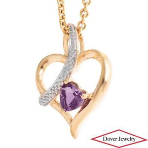 Estate Diamond 0.33ct Amethyst 10K Gold Open Heart Swirl Slide Pendant NR