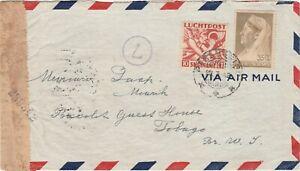 Surinam 1942 censored airmail cover to Scarborough Tobago via Trinidad ..