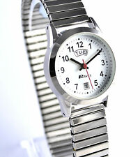 Ravel Ladies Clear Dial Watch Silvertone Expander Stretch Metal Strap Day Date