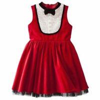 Harajuku Gwen Stefani Girl's Sleeveless Bow Tuxedo Christmas Dress Red Velvet