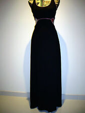 BNWT STRETCHY MAXI CASUAL DRESS PADDED BUST SIZE S BLACK WITH PINK PIPING