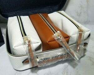 ESTEE LAUDER 4-PC-SET 1 WHITE CASE 3 SMALL MAKEUP COSMETIC POUCH 9.5*7*3 INCH