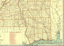 1930 Antique MISSISSIPPI State Map Vintage Map w RAILROADS Rare Size 5346