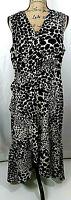 Women's Dress Size XL Animal Print Sleeveless Black White Cotton