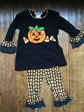 Bonnie Jean 2T Pumpkin Shirt Ruffle Pants Outfit Fall Halloween Candy Corn Black