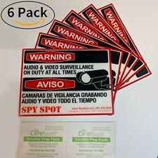 6 Pack CCTV Warning Stickers Audio & Video Surveillance Sign Vinyl Weatherproof