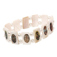 Protecting Christian Blessed Stretch Pearl Bracelet with Images of Saints Israel