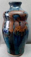 "Rustic 8.75"" BLUE & Brown Signed Art Ceramic Studio POTTERY Glazed VASE"