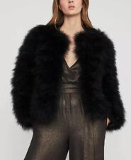 8a90de20739 NWT Bcbg Max Azria Zoey Black Genuine Ostrich Feather Jacket XS $348 NEW