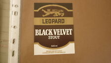 OLD NZ NEW ZEALAND BEER LABEL, LEOPARD BREWERY HASTINGS, BLACK VELVET STOUT