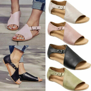 Womens Ladies Peep Toe Buckle Flat Sandals Summer Holiday Comfy Shoes Size NEW