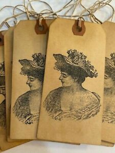 10 LARGE Coffee Stained Primitive VICTORIAN LADY WOMAN Hang Gift Tags Lot