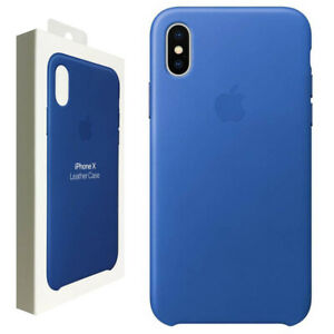 Official Apple Genuine Leather Rear Case Cover for iPhone X - Electric Blue