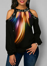 Rainbow Sequin Embellished cut out shoulder ladies top 3xl (size20)