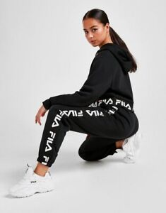 Fila Jacquard Tape Pants Black 6 8 10 12 14 Womens Joggers Gym Running Workout