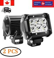 "LED Light Bar 4"" 18W LED Pods 1800LM Flood Beam Off Road Waterproof LED Lights"