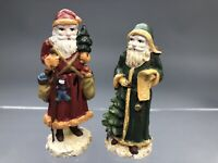 Antique Pewter Christmas Collection Santa Reproduction Miniature Set of 2