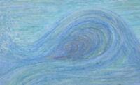 Wave original oil pastel painting framed abstract ocean water sea river tidal