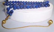 Blue Lapis Beads Elegant Lovely Rare 18k Gold Chain Necklace diamond Estate WOW