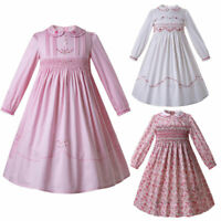 Kids Girls Smocked Dress Long Sleeve Embroidered Communion Casual Party Pageant