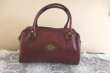 Original Etienne Aigner Handcrafted Red Oxblood Leather Double Handle Doctor Bag