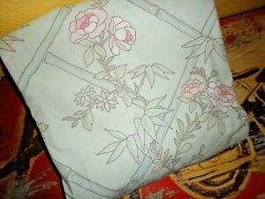 """VINTAGE SPRINGS LIGHT BLUE PINK BAMBOO LATTICE FLORAL (1) KING FITTED SHEET 7"""""""