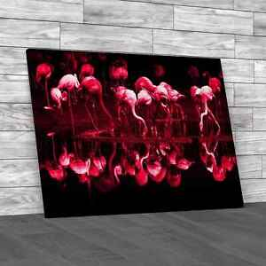 Flamingos Standing Mirrored In Lake Pink Canvas Print Large Picture Wall Art