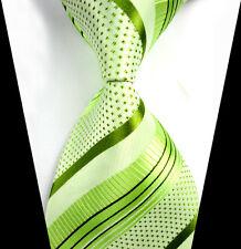 New Classic Green Striped Tie WOVEN JACQUARD Silk Men's Suits Ties Necktie LT262