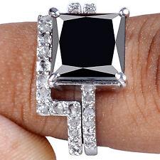 5.49.ct BLACK COLOR MOISSANITE & WHITE NATURAL REAL RAW DIAMOND .925 BRIDAL RING