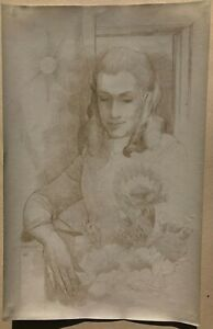 Young Woman Sitting with Flowers Silverpoint Drawing-1969-August Mosca