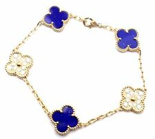Van Cleef & Arpels Vintage Alhambra 18k Yellow Gold Diamond Lapis Bracelet Cert