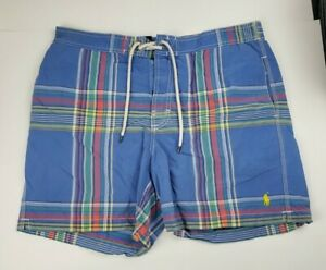 Polo Ralph Lauren Plaid Lined Swim Trunks Size L with Yellow Horse