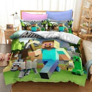 Kids Minecraft Quilt Duvet Doona Cover Set Single/Double/Queen/King Size Bed