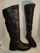 NEW AS 98 CARL BLACK LEATHER STUDDED OVER THE KNEE BOOTS US 8 EUR 39
