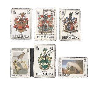 BERMUDA, SCOTT # 433-436(4)+466/467(2),1983-85 COAT OF ARMS+BIRDS ISSUE USED