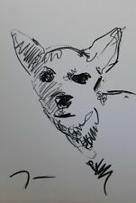 JOSE TRUJILLO OIL PASTELS Painting ABSTRACT Minimalism 13X19 Chihuahua Dog Puppy