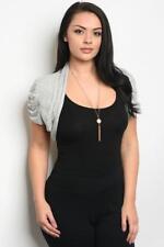 NEW..Plus Size Grey Crop Bolero Shrug Cardi Jacket with Ruched Sleeves..Sz18/3XL