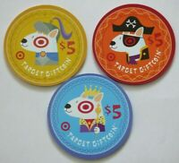 Target Gift Card Lot of 3 Gift Coins / Bullseye Dog, King,Pirate -2009 -No Value