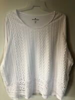 Woman Within Plus Size 2X 26/28 White Front Lace Crochet Top Long Sleeve