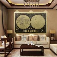 Large Vintage Retro Paper Earth's Moon World Map Poster Wall Chart Home Decro