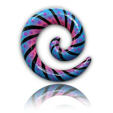 PAIR HAND PAINTED WOOD SPIRALS 0G 8MM SPIRAL PLUGS PLUG