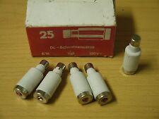 25 DL Schmelzeinsätze Schmelzsicherung 10A 380V E16 DDR Sicherung Porzellan rot