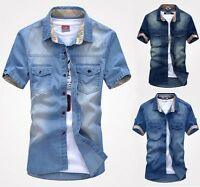 ED75 New Men's Jean Short Sleeve Casual Slim Stylish Wash-Vintage Denim Shirts