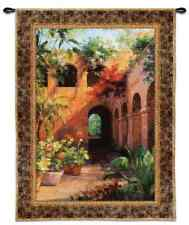 """SOUTHWEST COURTYARD FLORAL POTS ART TAPESTRY WALL HANGING 38.5"""" x 52"""""""