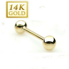 14K Solid Yellow Gold Tongue Barbell Ring : 16 & 14 Gauge or 1.2 & 1.6mm T77