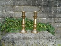 Stunning pair of Antique solid heavy brass candlesticks - turned 19th century